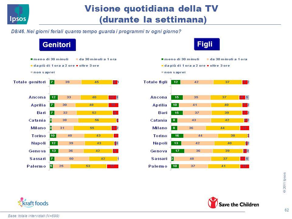 62 © 2011 Ipsos Base: totale intervistati (N=699) D8/46. Nei giorni feriali quanto tempo guarda i programmi tv ogni giorno? Genitori Figli Visione quo