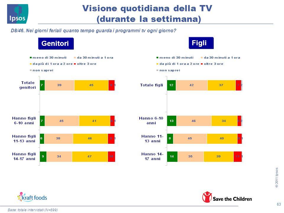 63 © 2011 Ipsos Base: totale intervistati (N=699) D8/46. Nei giorni feriali quanto tempo guarda i programmi tv ogni giorno? Genitori Figli Visione quo
