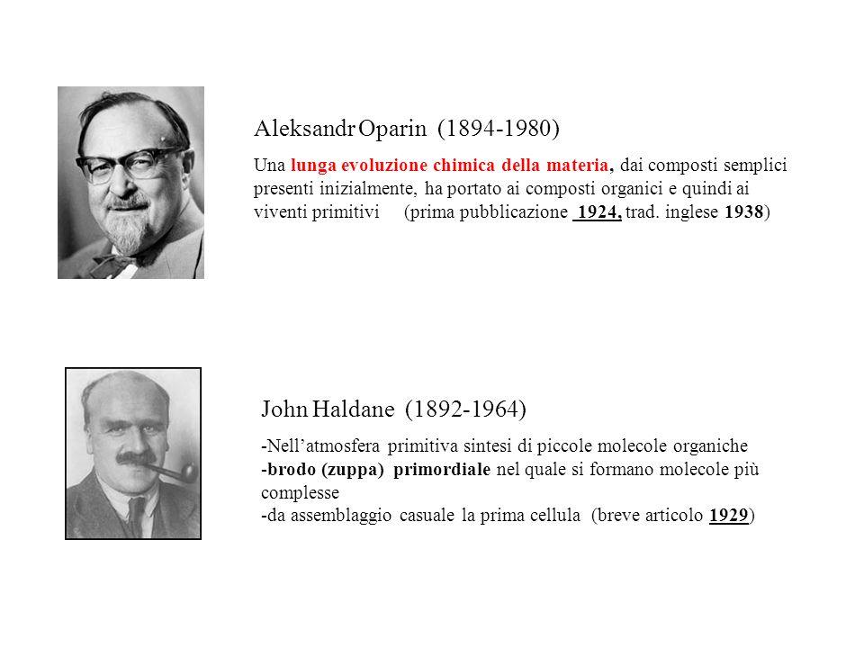 Aleksandr Oparin (1894-1980) Una lunga evoluzione chimica della materia, dai composti semplici presenti inizialmente, ha portato ai composti organici