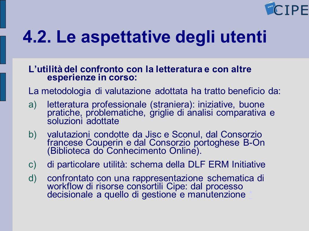 4.2. Le aspettative degli utenti Lutilità del confronto con la letteratura e con altre esperienze in corso: La metodologia di valutazione adottata ha