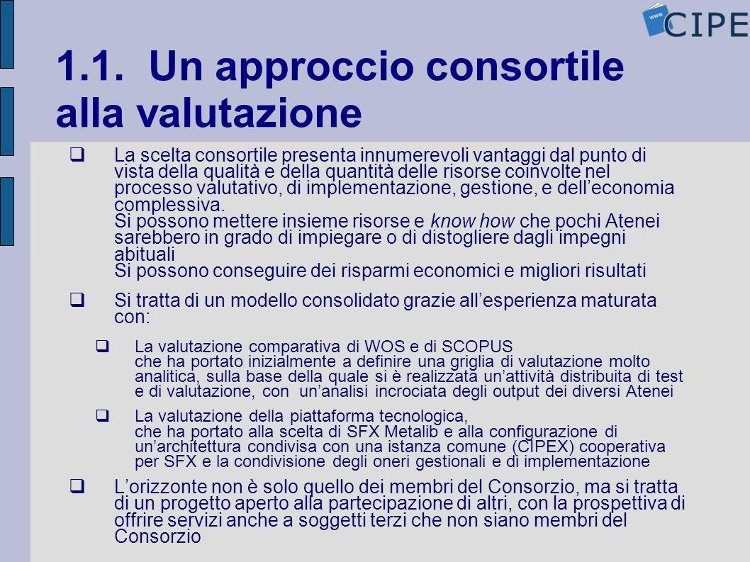 1.1. Un approccio consortile alla valutazione La scelta consortile presenta innumerevoli vantaggi dal punto di vista della qualità e della quantità de