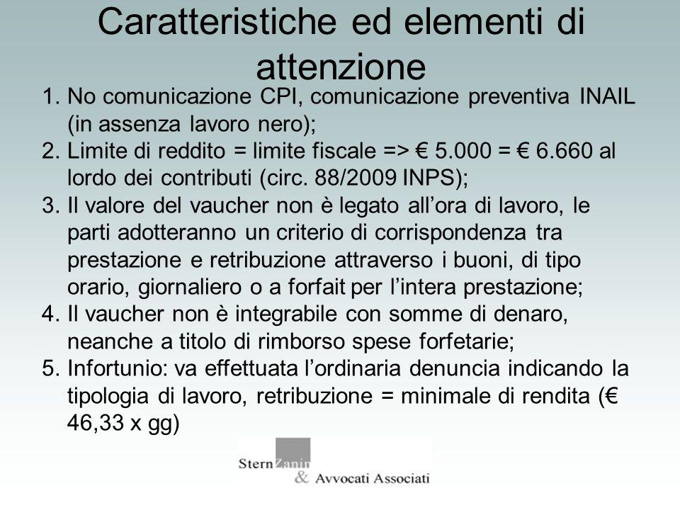 Caratteristiche ed elementi di attenzione 1.No comunicazione CPI, comunicazione preventiva INAIL (in assenza lavoro nero); 2.Limite di reddito = limit