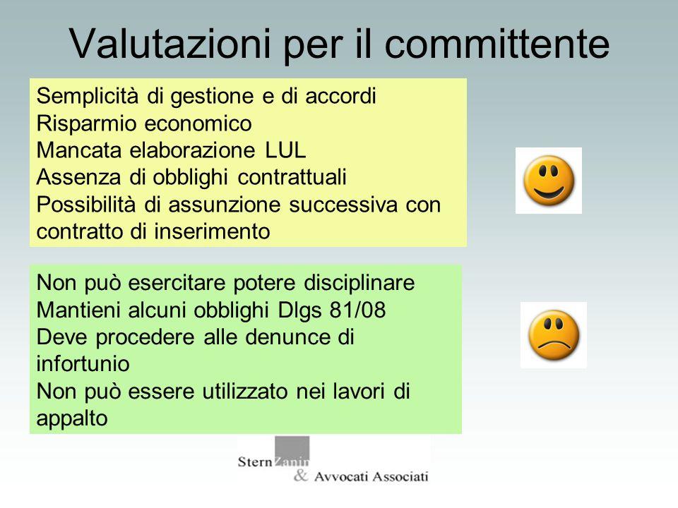 Valutazioni per il committente Semplicità di gestione e di accordi Risparmio economico Mancata elaborazione LUL Assenza di obblighi contrattuali Possi
