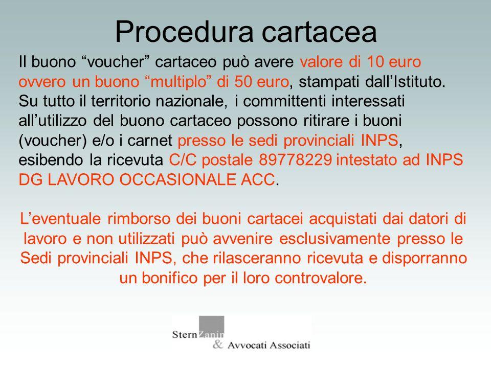 Procedura cartacea Il buono voucher cartaceo può avere valore di 10 euro ovvero un buono multiplo di 50 euro, stampati dallIstituto. Su tutto il terri