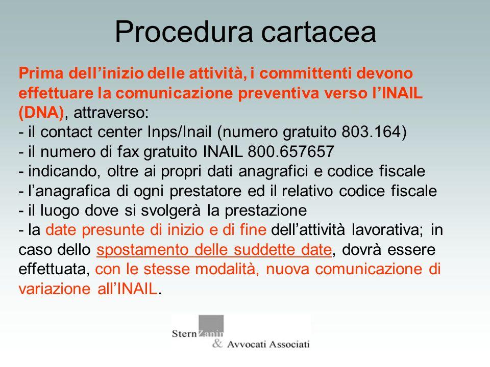 Procedura cartacea Prima dellinizio delle attività, i committenti devono effettuare la comunicazione preventiva verso lINAIL (DNA), attraverso: - il c