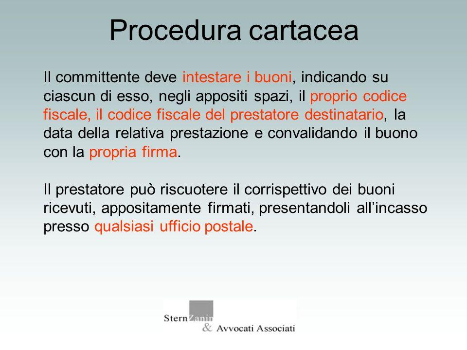 Procedura cartacea Il committente deve intestare i buoni, indicando su ciascun di esso, negli appositi spazi, il proprio codice fiscale, il codice fis