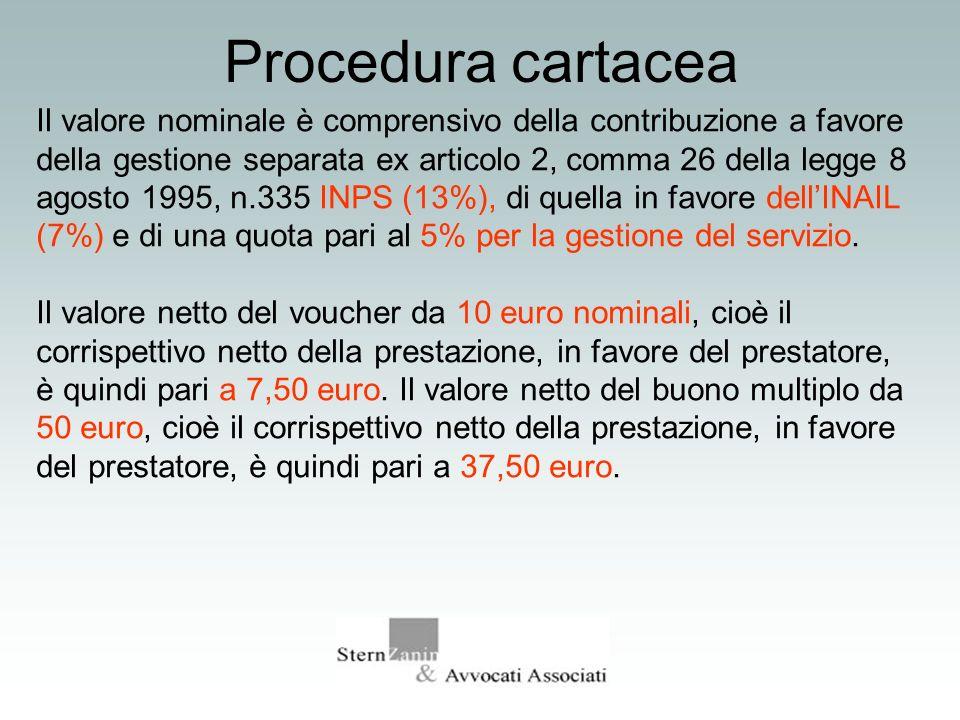 Procedura cartacea Il valore nominale è comprensivo della contribuzione a favore della gestione separata ex articolo 2, comma 26 della legge 8 agosto