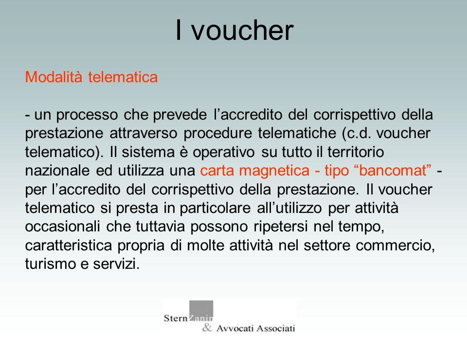 I voucher Modalità telematica - un processo che prevede laccredito del corrispettivo della prestazione attraverso procedure telematiche (c.d. voucher