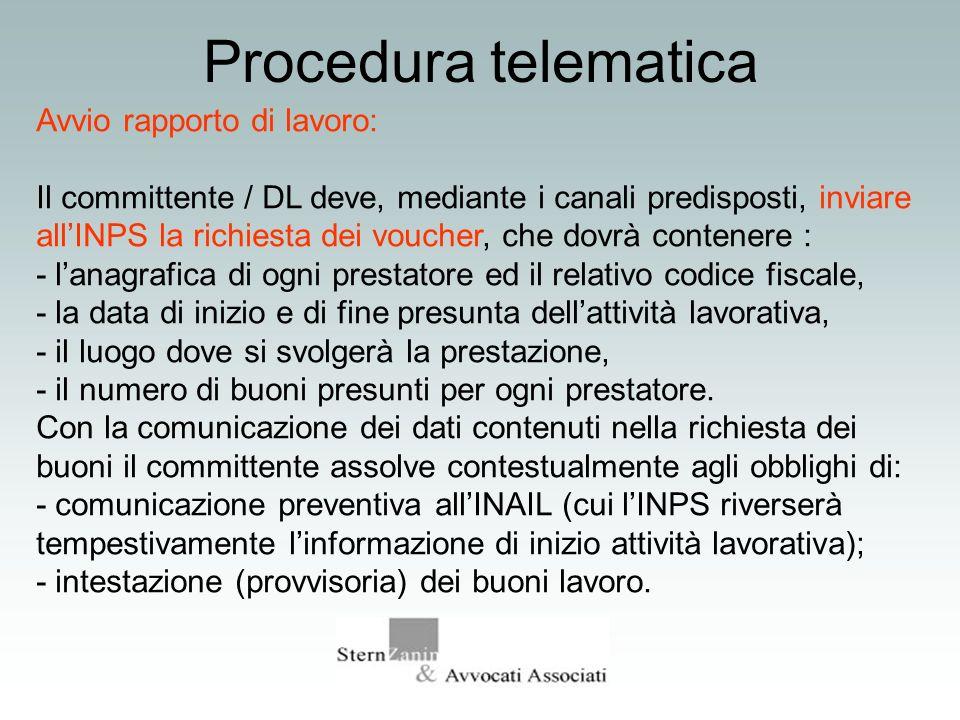 Procedura telematica Avvio rapporto di lavoro: Il committente / DL deve, mediante i canali predisposti, inviare allINPS la richiesta dei voucher, che