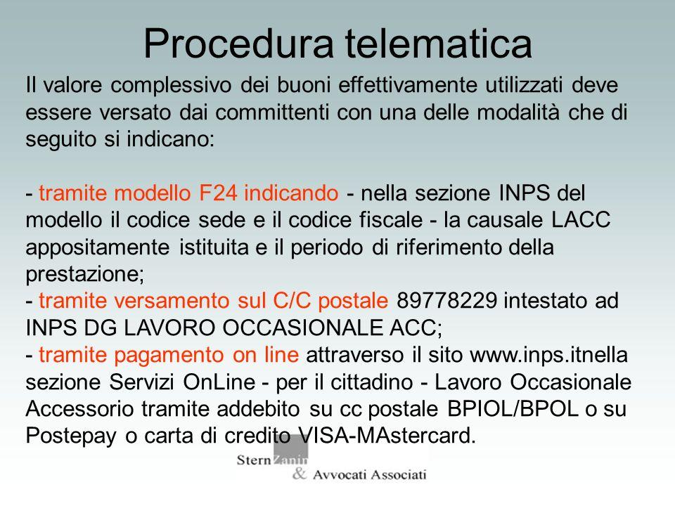 Procedura telematica Il valore complessivo dei buoni effettivamente utilizzati deve essere versato dai committenti con una delle modalità che di segui