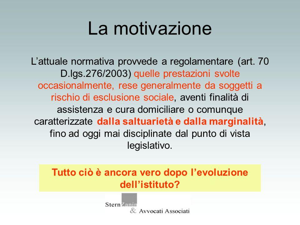 La motivazione Lattuale normativa provvede a regolamentare (art. 70 D.lgs.276/2003) quelle prestazioni svolte occasionalmente, rese generalmente da so