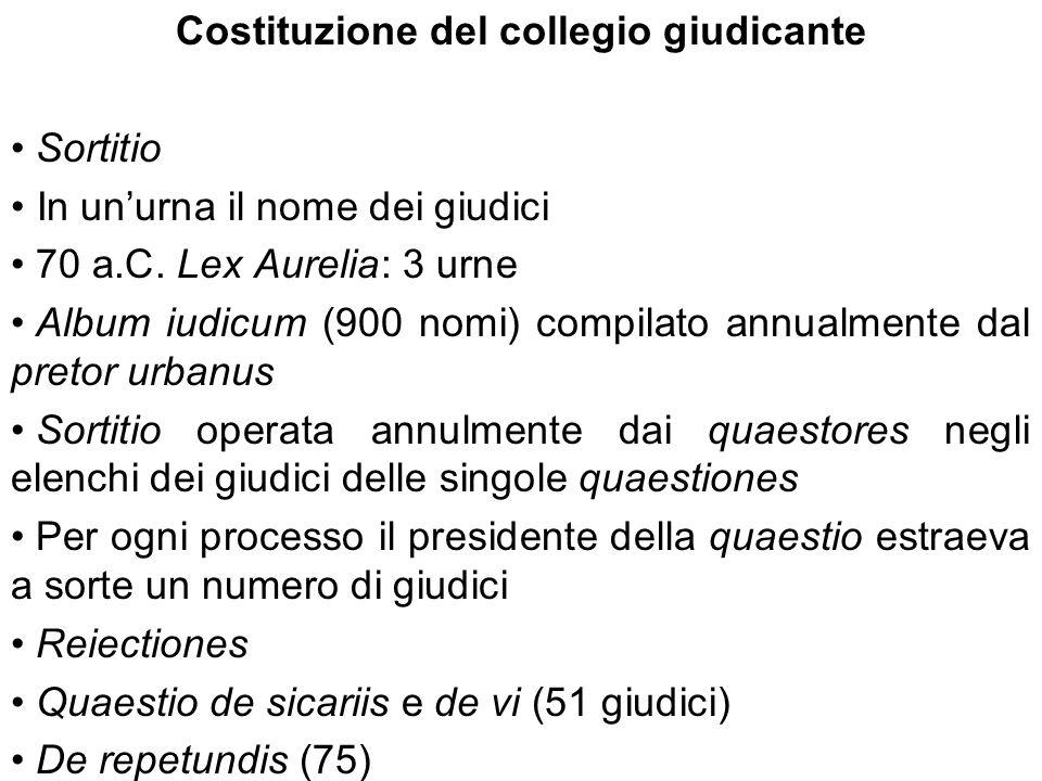 Costituzione del collegio giudicante Sortitio In unurna il nome dei giudici 70 a.C. Lex Aurelia: 3 urne Album iudicum (900 nomi) compilato annualmente