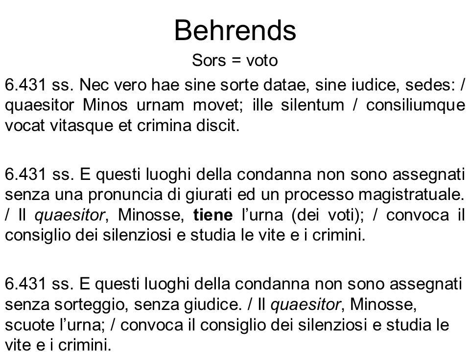 Behrends Sors = voto 6.431 ss. Nec vero hae sine sorte datae, sine iudice, sedes: / quaesitor Minos urnam movet; ille silentum / consiliumque vocat vi