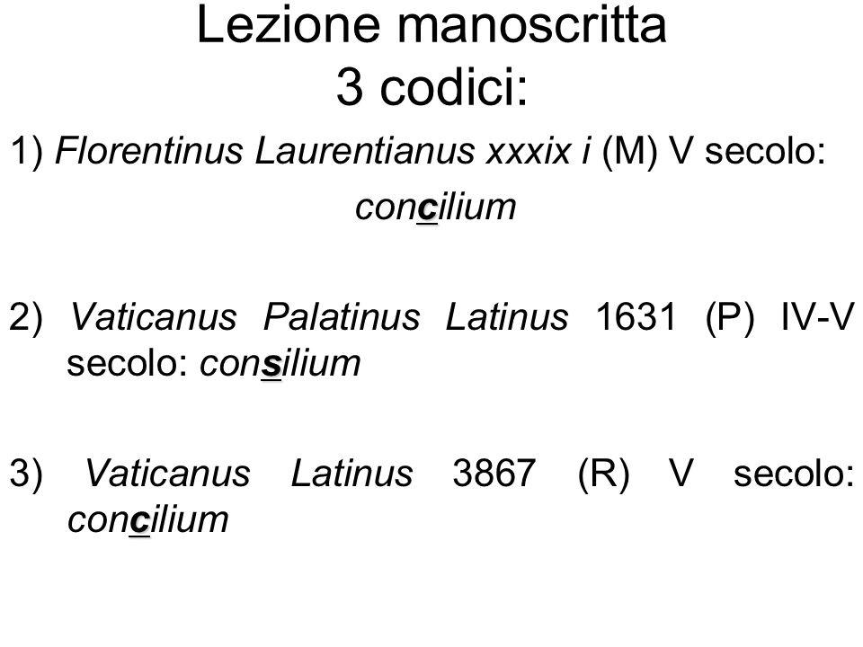 Lezione manoscritta 3 codici: 1) Florentinus Laurentianus xxxix i (M) V secolo: c concilium s 2) Vaticanus Palatinus Latinus 1631 (P) IV-V secolo: con