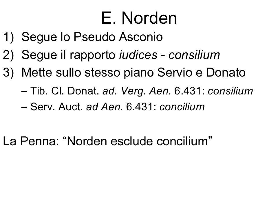 E. Norden 1)Segue lo Pseudo Asconio 2)Segue il rapporto iudices - consilium 3)Mette sullo stesso piano Servio e Donato – Tib. Cl. Donat. ad. Verg. Aen