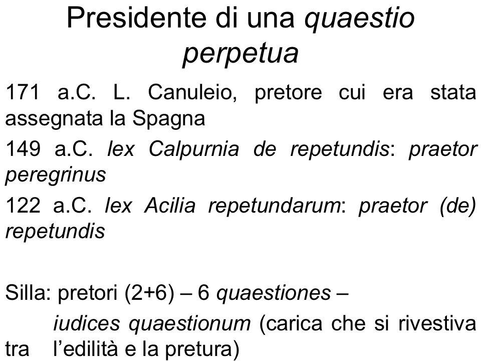 Presidente di una quaestio perpetua 171 a.C. L. Canuleio, pretore cui era stata assegnata la Spagna 149 a.C. lex Calpurnia de repetundis: praetor pere