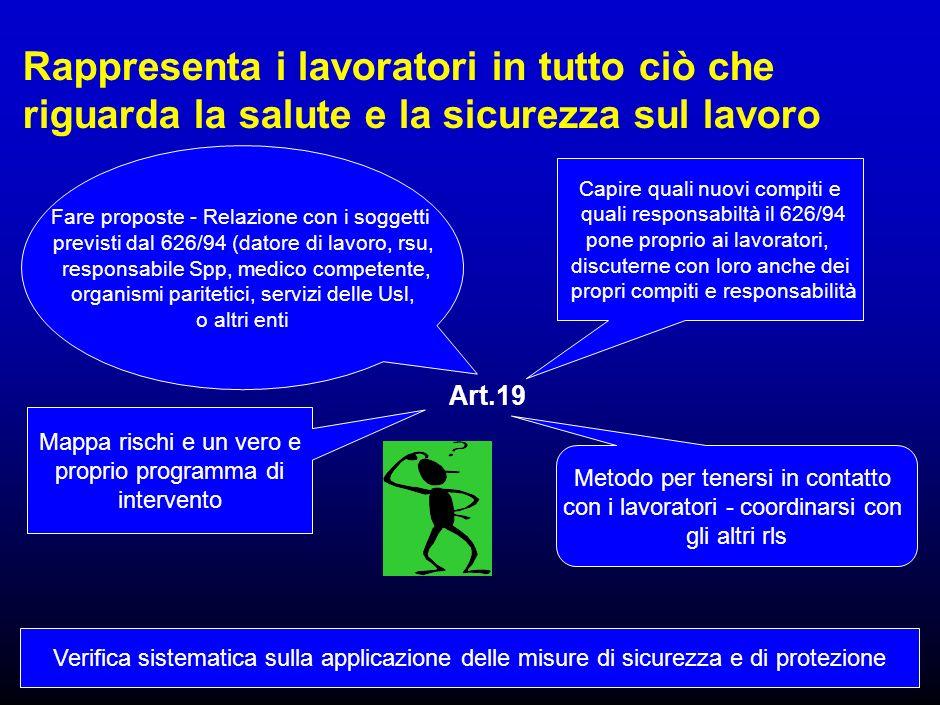 15 Art.19 - Attribuzioni RLS Riceve una formazione adeguata Promuove lelaborazione, lindividuazione e lattuazione delle misure di prevenzione idonee a