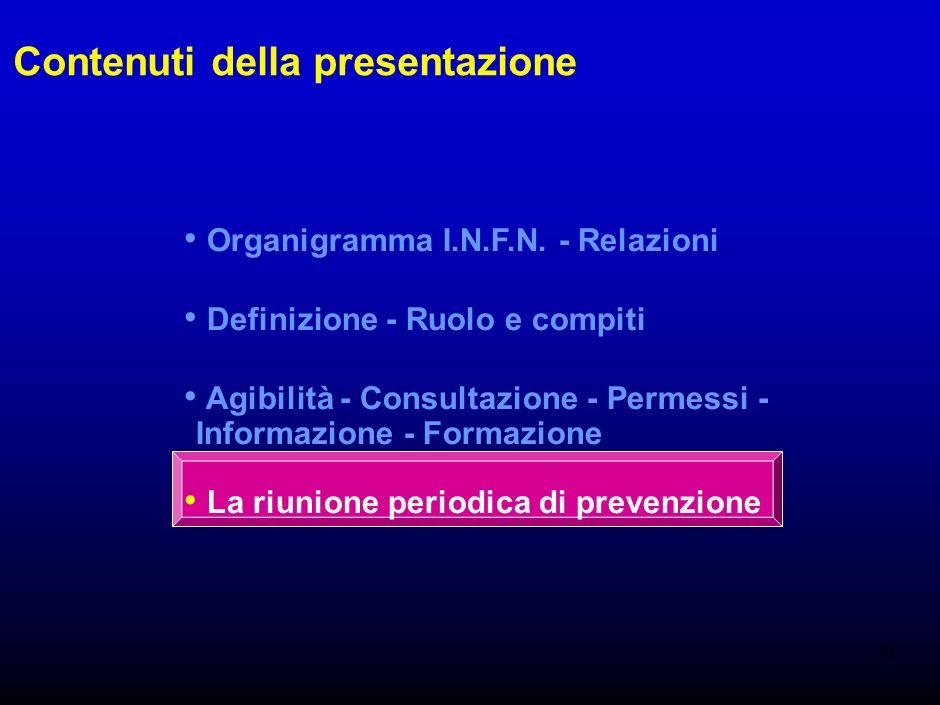 17 Permessi retribuiti per i Rls Accordo I.N.F.N. - OO.SS. del 8 maggio 1997 30 ore per ogni rappresentante delle strutture di Cagliari, C.N.A.F., Fer