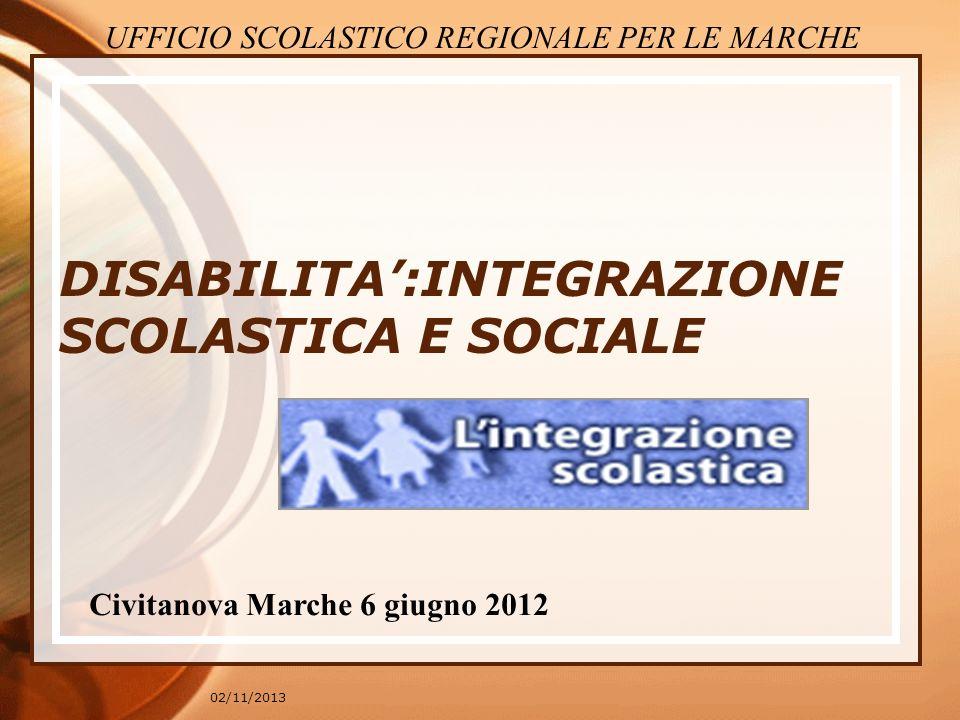 02/11/2013 DISABILITA:INTEGRAZIONE SCOLASTICA E SOCIALE Civitanova Marche 6 giugno 2012 UFFICIO SCOLASTICO REGIONALE PER LE MARCHE