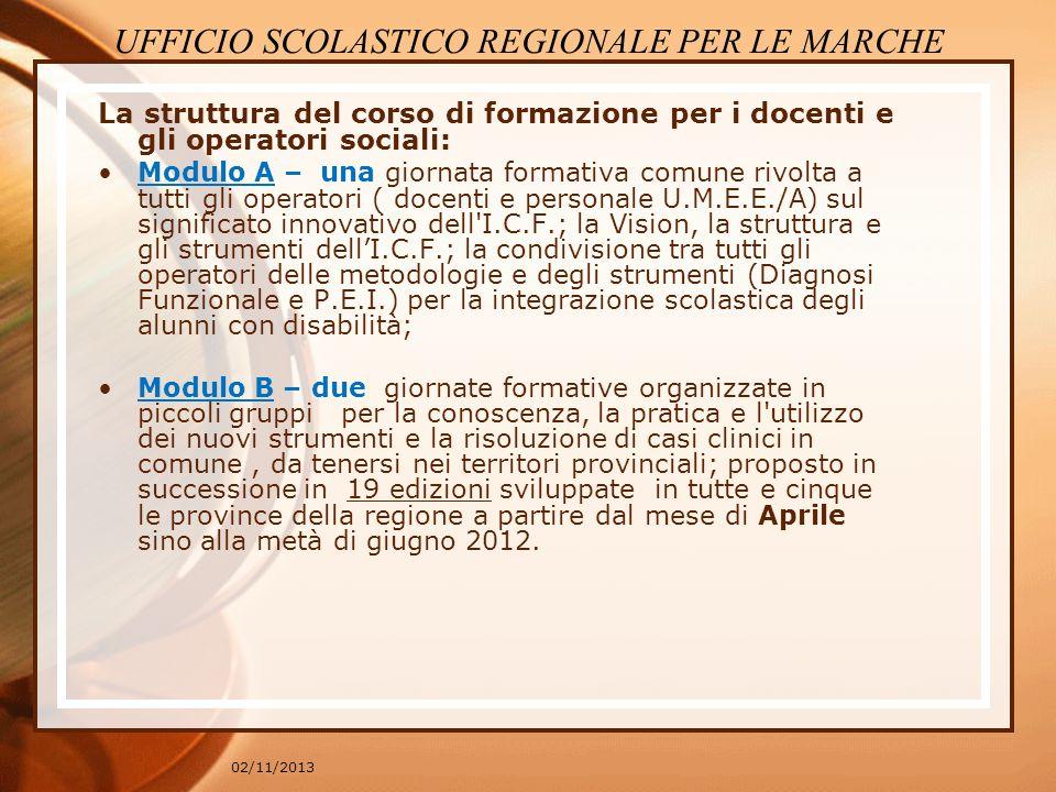 02/11/2013 La struttura del corso di formazione per i docenti e gli operatori sociali: Modulo A – una giornata formativa comune rivolta a tutti gli op