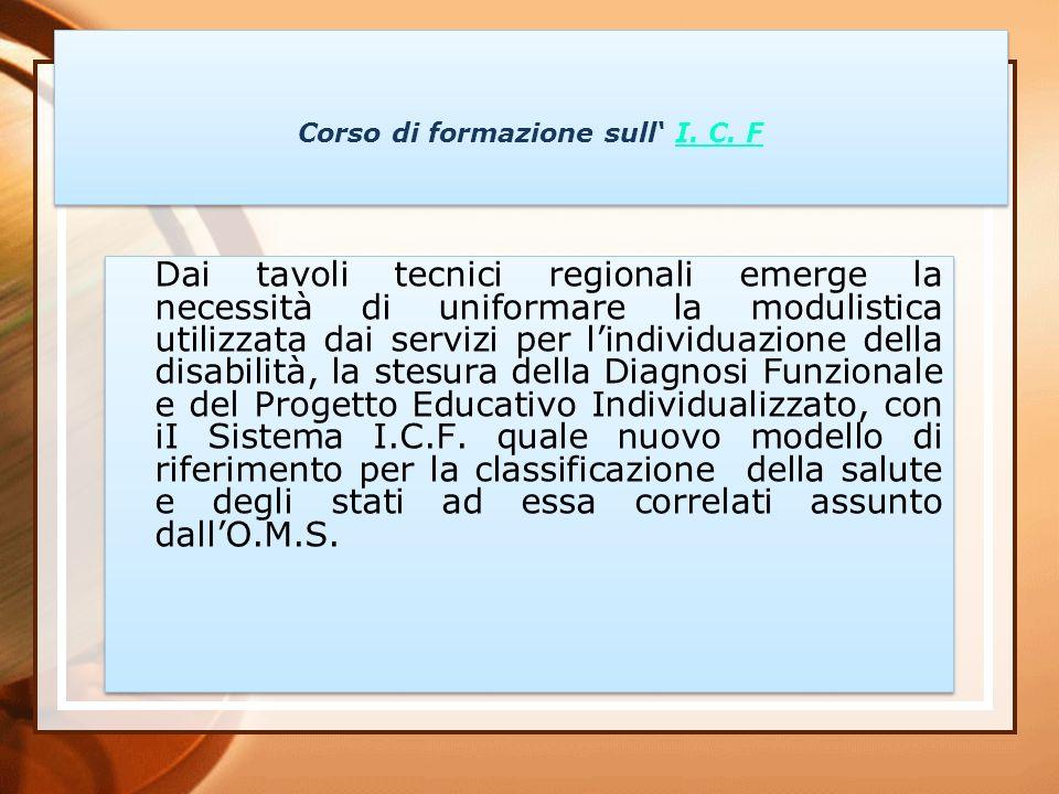 Corso di formazione sull I. C. FI. C. F Corso di formazione sull I. C. FI. C. F Dai tavoli tecnici regionali emerge la necessità di uniformare la modu