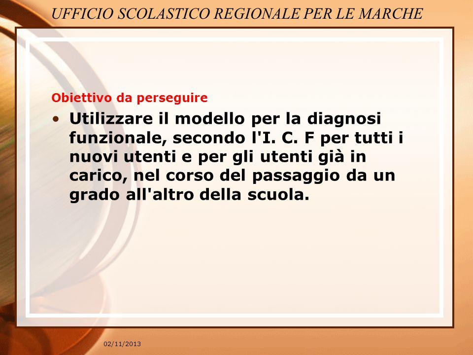 02/11/2013 Obiettivo da perseguire Utilizzare il modello per la diagnosi funzionale, secondo l'I. C. F per tutti i nuovi utenti e per gli utenti già i