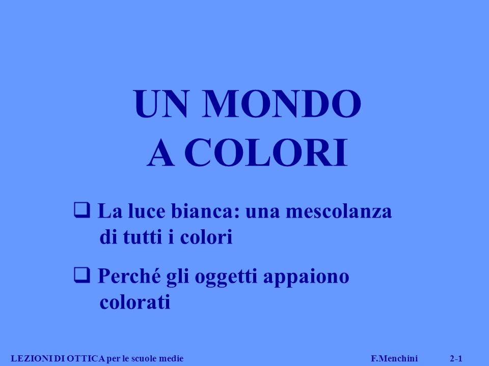 UN MONDO A COLORI La luce bianca: una mescolanza di tutti i colori Perché gli oggetti appaiono colorati LEZIONI DI OTTICA per le scuole medie F.Menchi