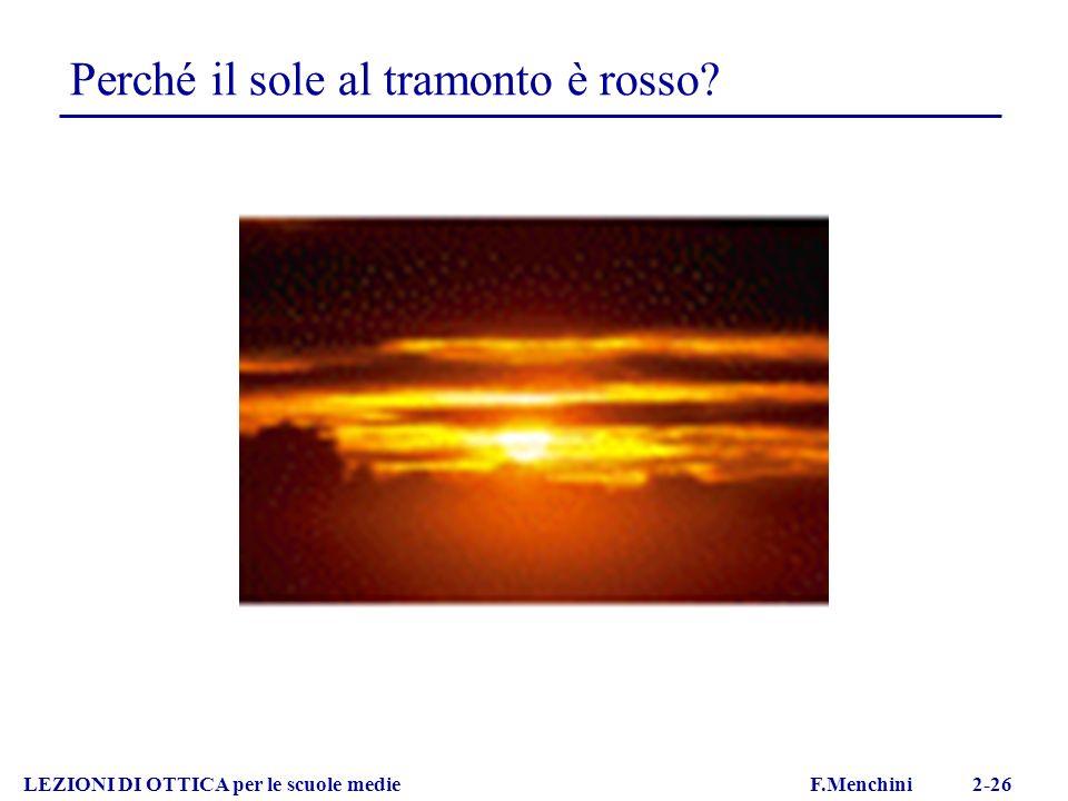 LEZIONI DI OTTICA per le scuole medie F.Menchini 2-26 Perché il sole al tramonto è rosso?