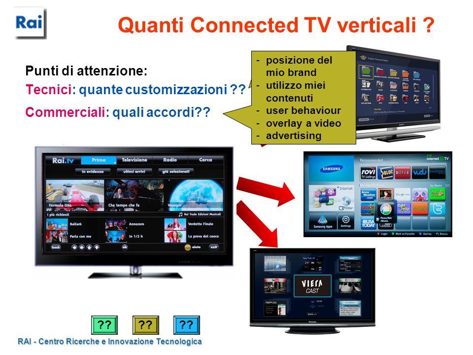 RAI - Centro Ricerche e Innovazione Tecnologica Quanti Connected TV verticali ? Punti di attenzione: Tecnici: quante customizzazioni ?? Commerciali: q