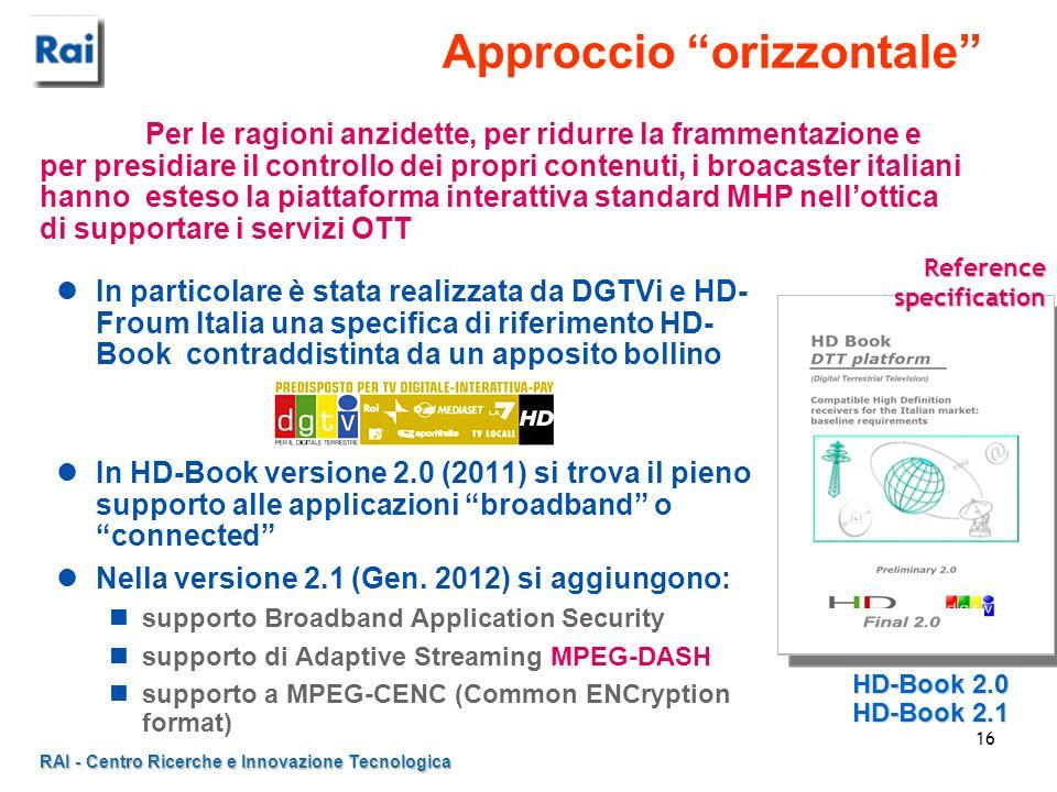 RAI - Centro Ricerche e Innovazione Tecnologica 16 Approccio orizzontale In particolare è stata realizzata da DGTVi e HD- Froum Italia una specifica d
