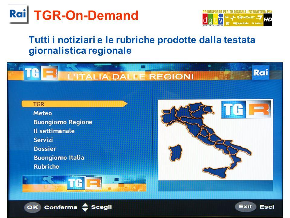 RAI - Centro Ricerche e Innovazione Tecnologica TGR-On-Demand Tutti i notiziari e le rubriche prodotte dalla testata giornalistica regionale
