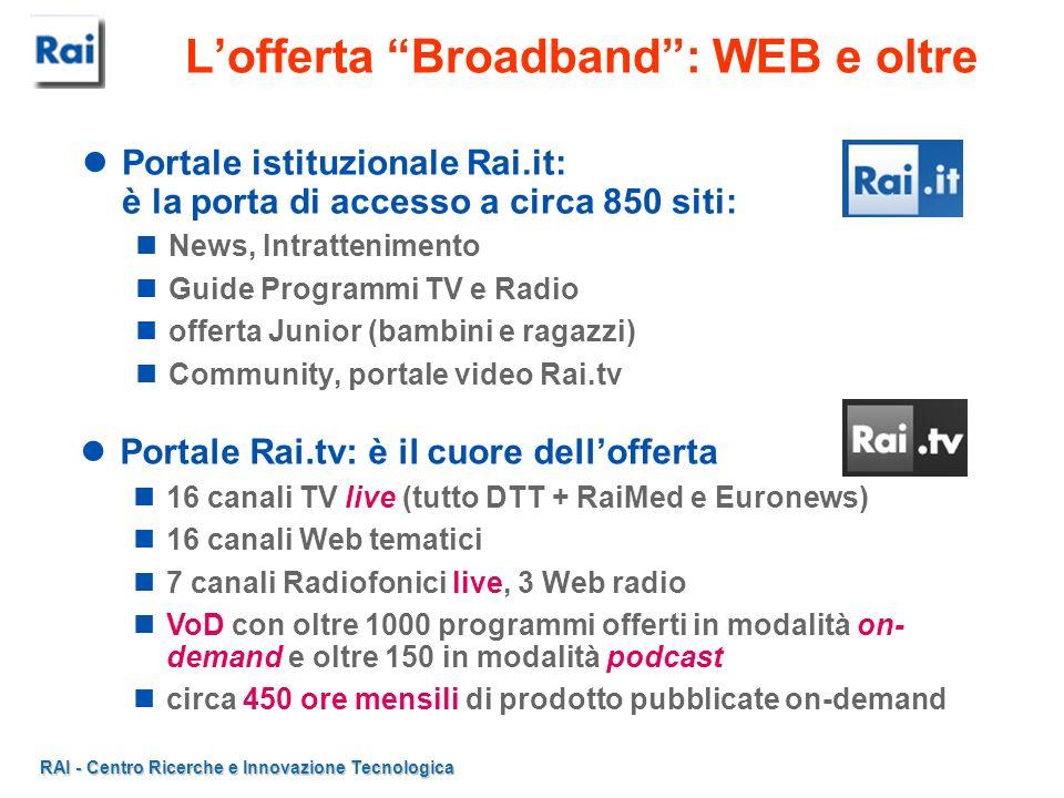 RAI - Centro Ricerche e Innovazione Tecnologica Portale Rai.tv: è il cuore dellofferta 16 canali TV live (tutto DTT + RaiMed e Euronews) 16 canali Web