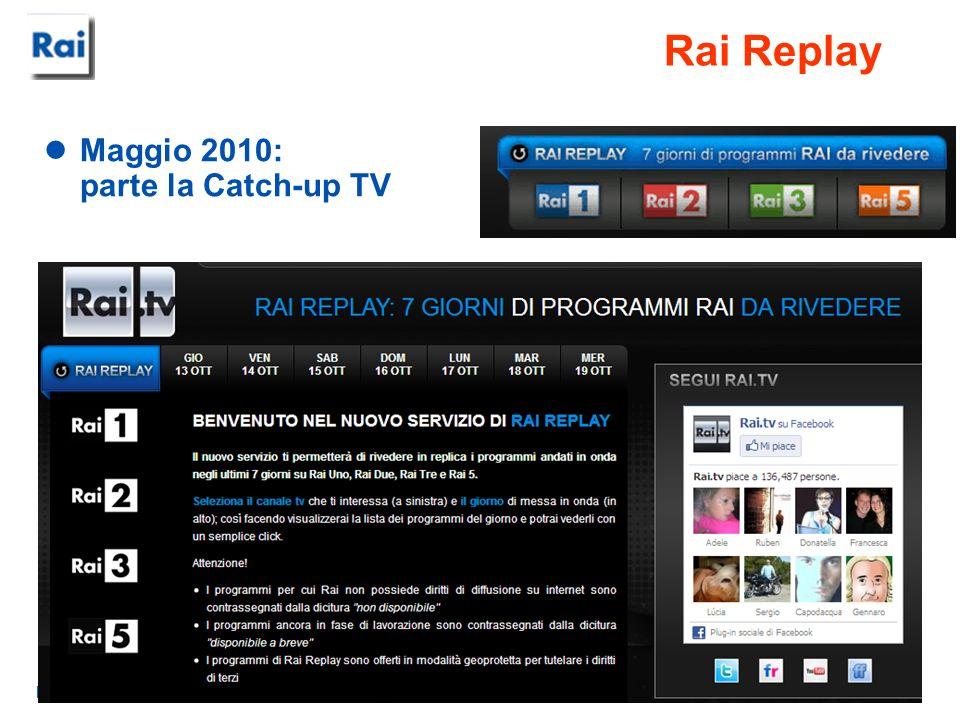RAI - Centro Ricerche e Innovazione Tecnologica Rai Replay Maggio 2010: parte la Catch-up TV