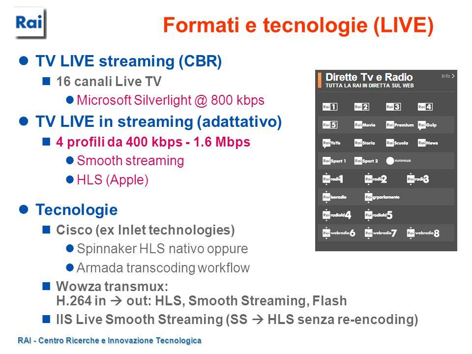 RAI - Centro Ricerche e Innovazione Tecnologica Formati e tecnologie (VoD) VoD http streaming Microsoft Silverlight @ 800 kbps WM encoder FFMPEG transcoding Replay TV 4 canali 6-7 profili da 300/400 kbps...