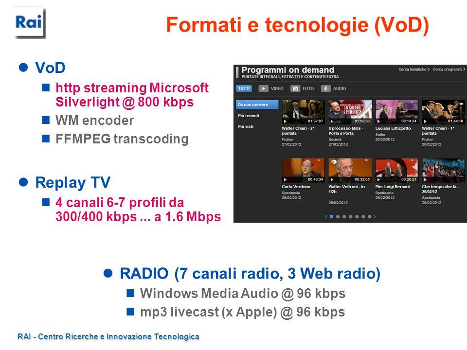 RAI - Centro Ricerche e Innovazione Tecnologica Formati e tecnologie (VoD) VoD http streaming Microsoft Silverlight @ 800 kbps WM encoder FFMPEG trans