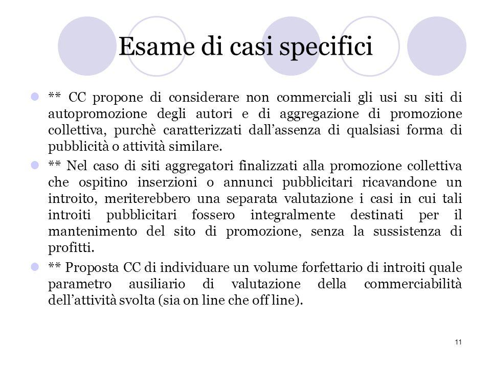 Criteri adottati - SIAE propone di adottare, sulla scorta dellesperienza olandese, un criterio di tipo soggettivo basato sul carattere economico-impre