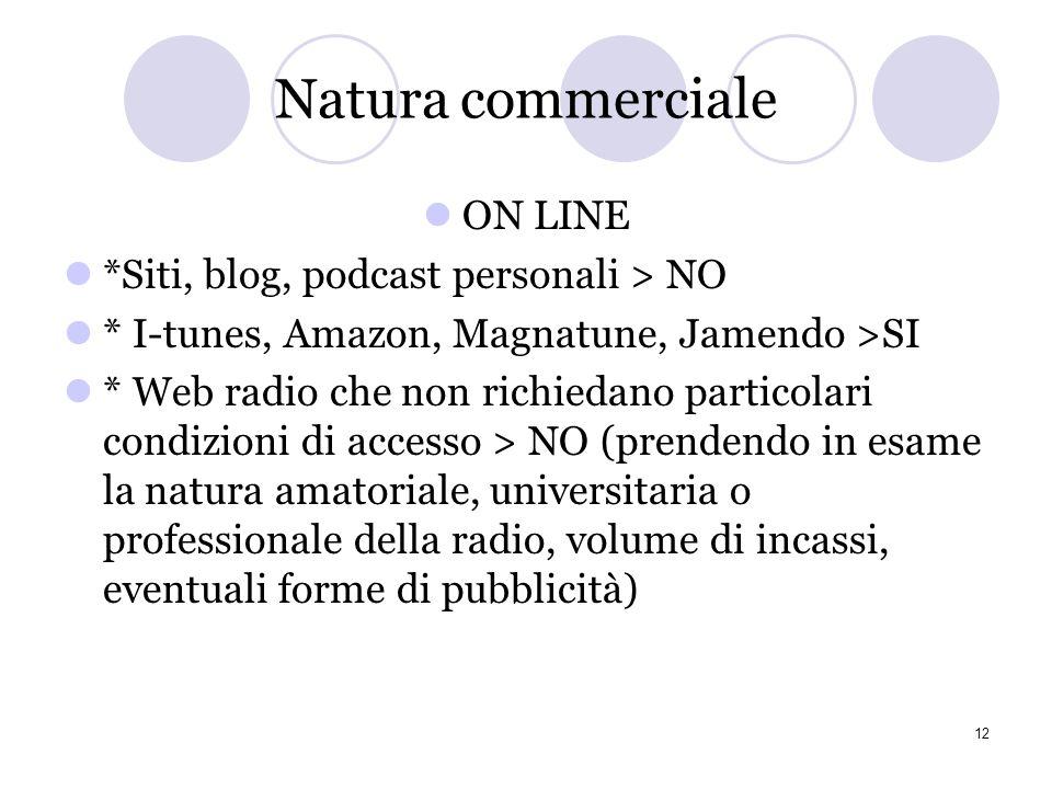Esame di casi specifici ** CC propone di considerare non commerciali gli usi su siti di autopromozione degli autori e di aggregazione di promozione co