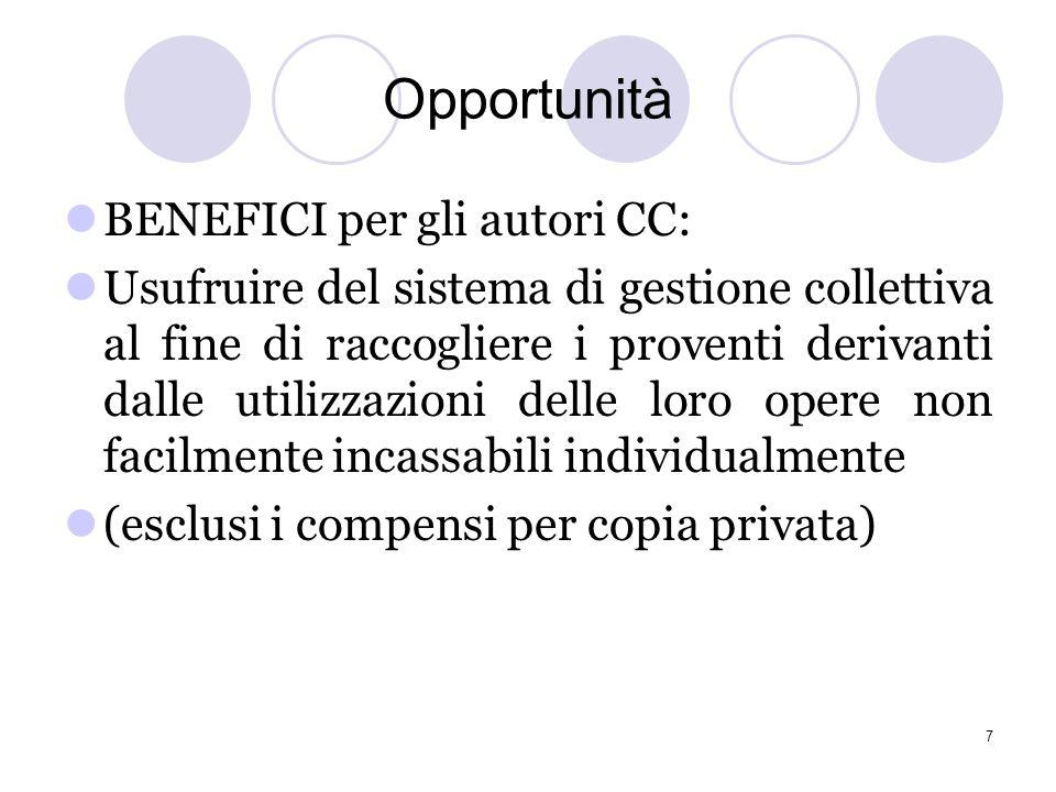 Opportunità BENEFICI per SIAE: -allargare la propria base associativa -possibile gestione di diritti non ancora amministrati (sincronizzazione, abbina