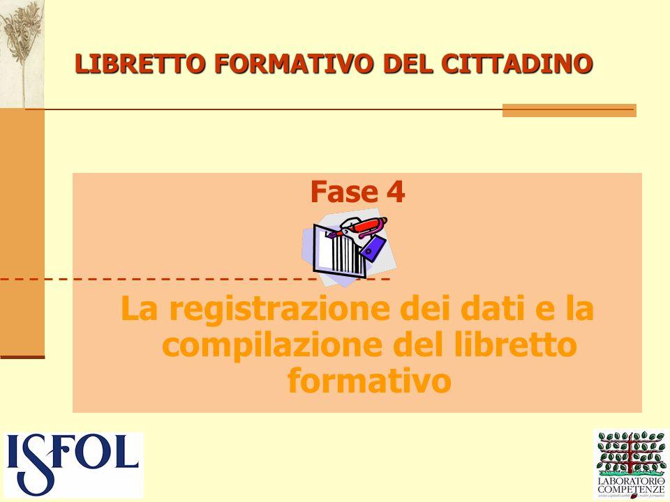 LIBRETTO FORMATIVO DEL CITTADINO Fase 4 La registrazione dei dati e la compilazione del libretto formativo