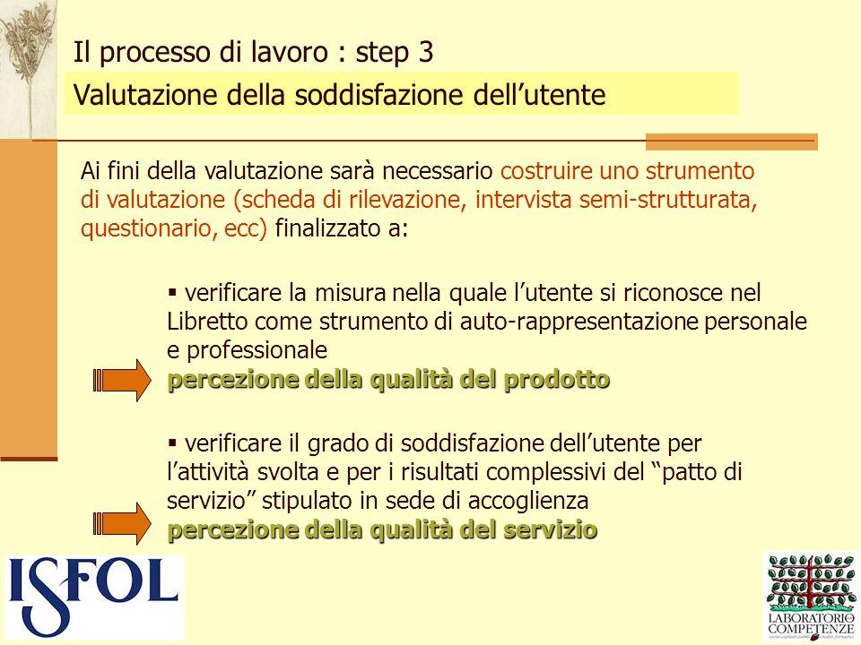 Valutazione della soddisfazione dellutente Il processo di lavoro : step 3 Ai fini della valutazione sarà necessario costruire uno strumento di valutaz