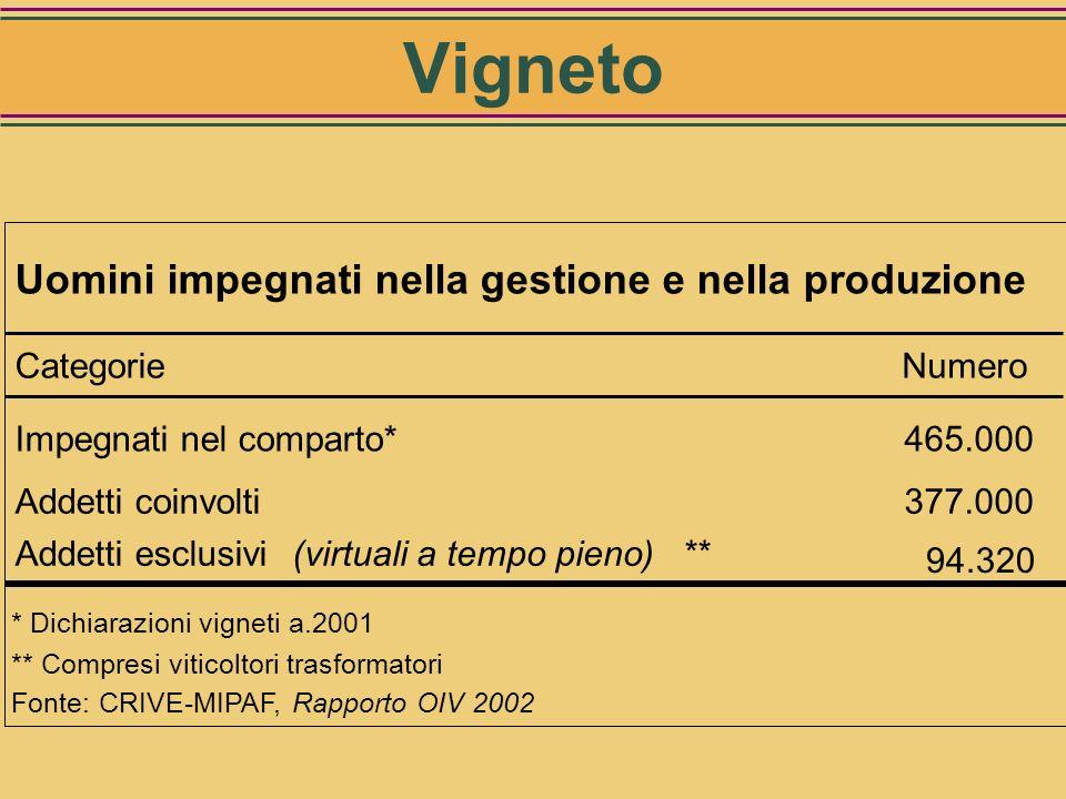 Criteri per la quantificazione degli UOMINI e del LAVORO: IMPEGNATI: numero di persone coinvolte nella gestione (titolari di vigneti) ADDETTI (virtual