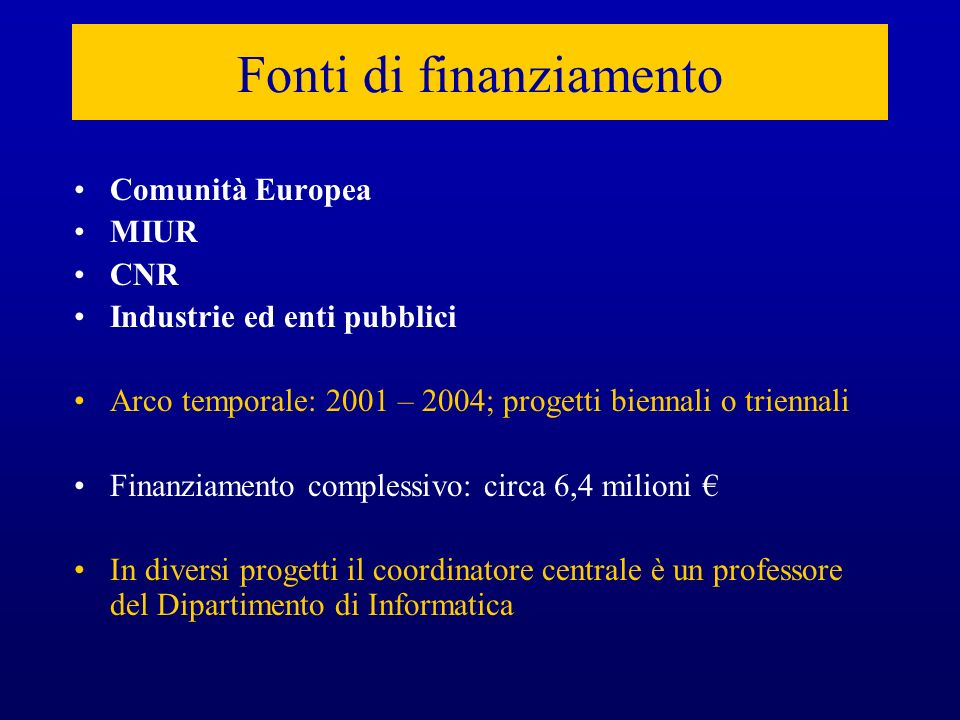Fonti di finanziamento Comunità Europea MIUR CNR Industrie ed enti pubblici Arco temporale: 2001 – 2004; progetti biennali o triennali Finanziamento c