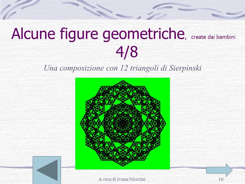 A cura di Ivana Niccolai16 Alcune figure geometriche, create dai bambini 4/8 Una composizione con 12 triangoli di Sierpinski
