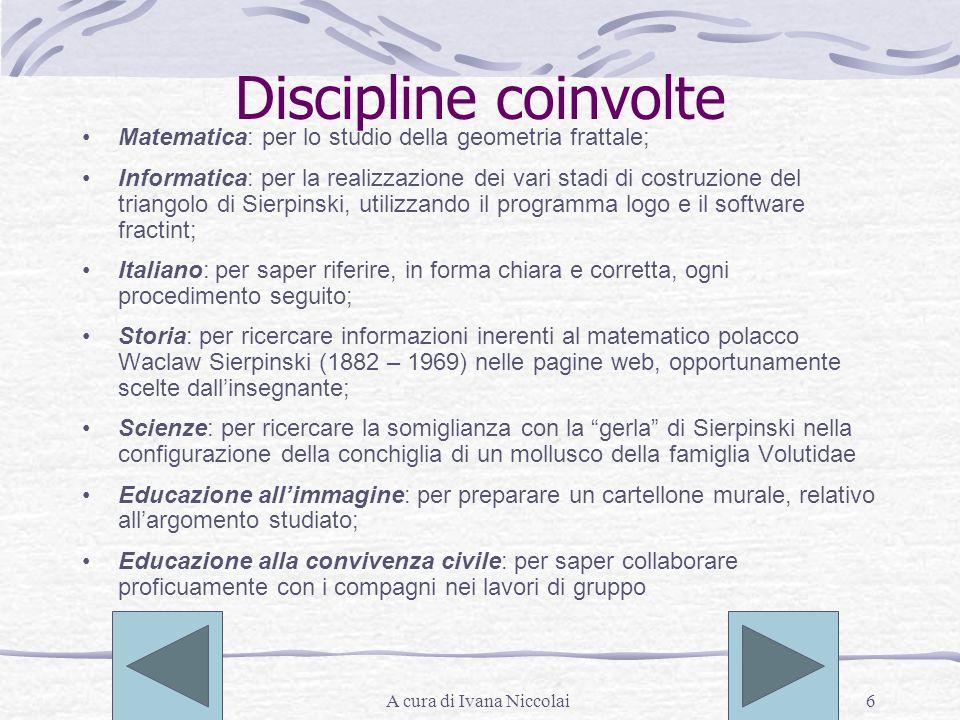 A cura di Ivana Niccolai6 Discipline coinvolte Matematica: per lo studio della geometria frattale; Informatica: per la realizzazione dei vari stadi di