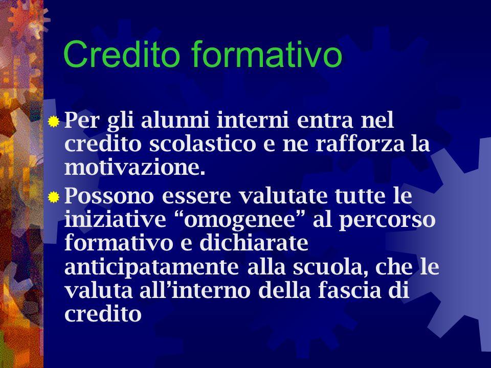 Credito formativo Per gli alunni interni entra nel credito scolastico e ne rafforza la motivazione. Possono essere valutate tutte le iniziative omogen