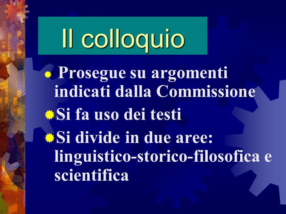 Il colloquio Prosegue su argomenti indicati dalla Commissione Si fa uso dei testi Si divide in due aree: linguistico-storico-filosofica e scientifica