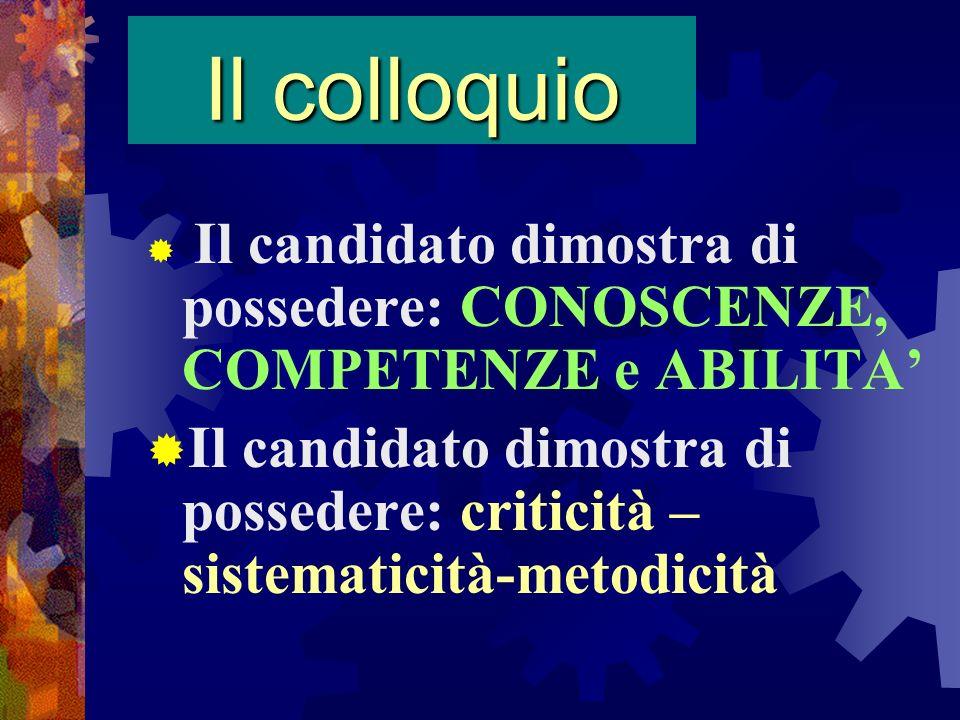 Il colloquio Il candidato dimostra di possedere: CONOSCENZE, COMPETENZE e ABILITA Il candidato dimostra di possedere: criticità – sistematicità-metodi