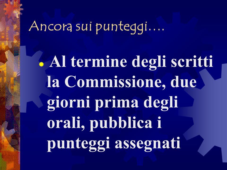 Ancora sui punteggi…. Al termine degli scritti la Commissione, due giorni prima degli orali, pubblica i punteggi assegnati