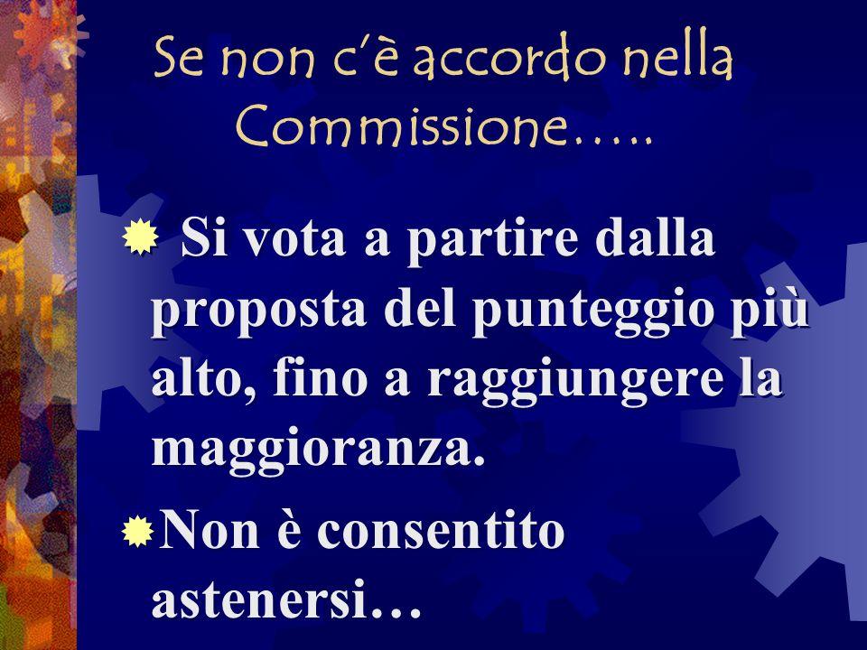 Se non cè accordo nella Commissione….. Si vota a partire dalla proposta del punteggio più alto, fino a raggiungere la maggioranza. Non è consentito as