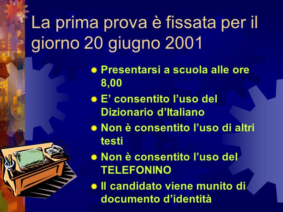 La prima prova è fissata per il giorno 20 giugno 2001 Presentarsi a scuola alle ore 8,00 E consentito luso del Dizionario dItaliano Non è consentito l